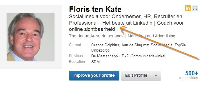 LinkedIn headline floris ten kate