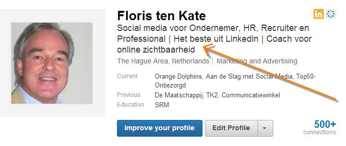 LinkedIn headline floris ten kate