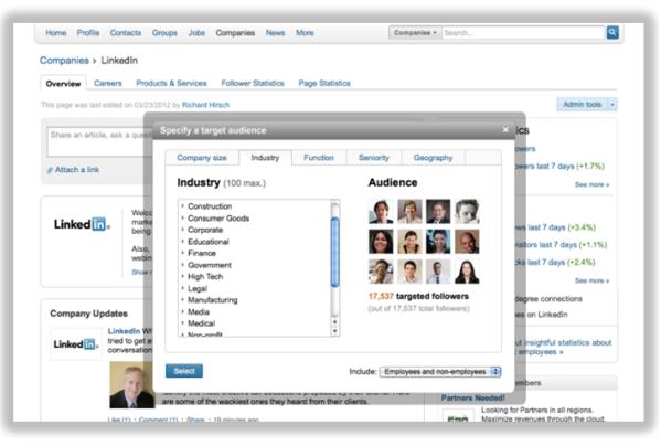 linkedin targeted audience scherm voor betere selectie en boodschapoverdracht